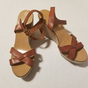 J. Crew Wessley Wedges Brown size 9